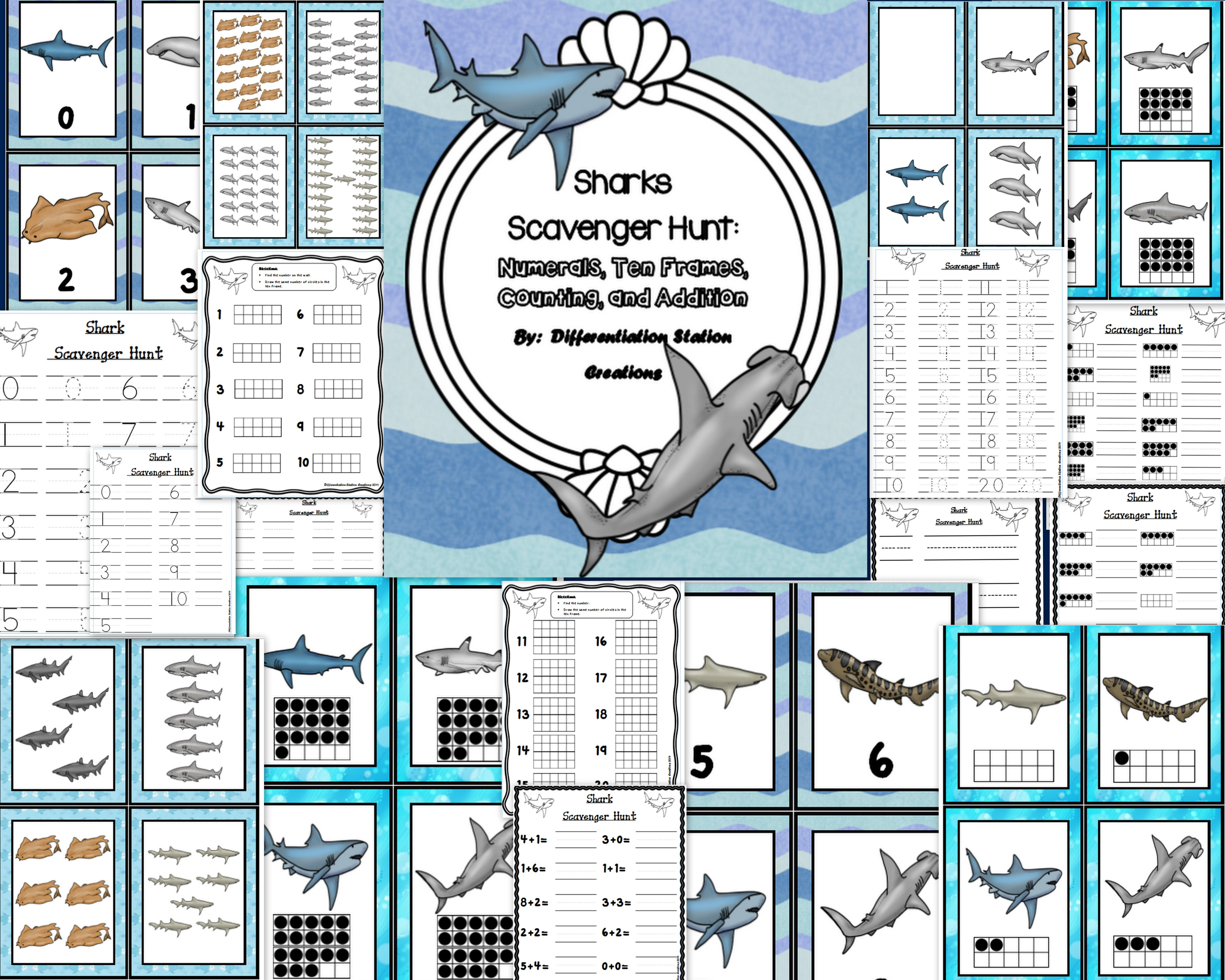 Sharks Math Scavenger Hunt Numerals Ten Frames Counting