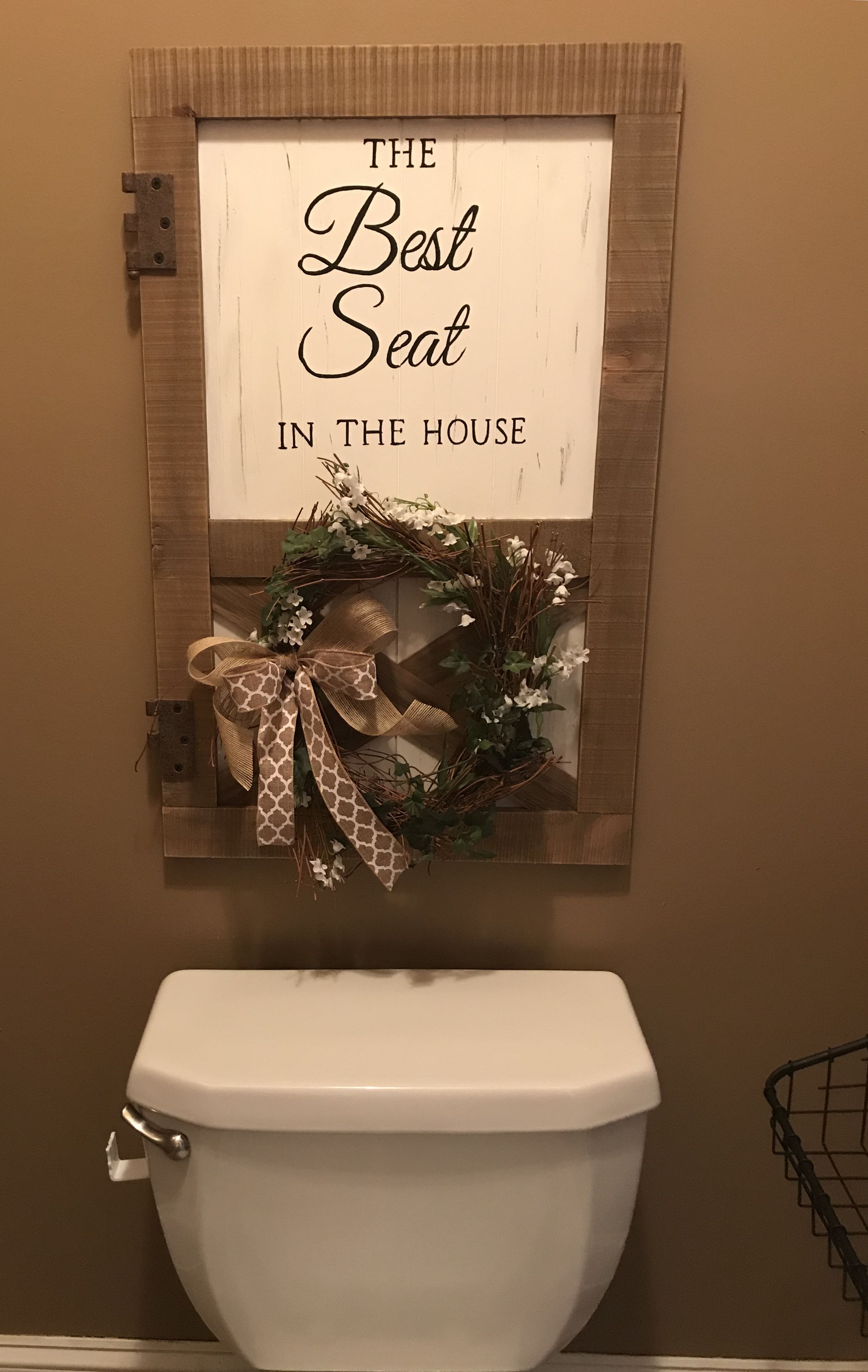 The Best Seat In The House Rustic Farmhouse Bathroom Sign Primitive Country Bathrooms Primitive Bathrooms Bathroom Decor Signs