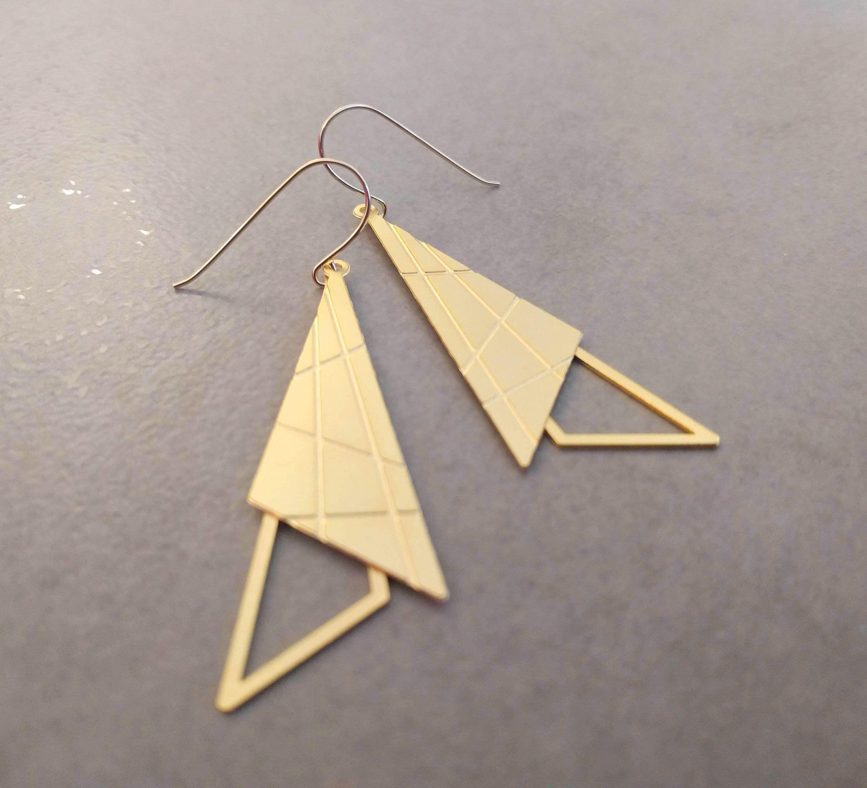 Geometric Earrings Square Earrings Earrings Triangle   Etsy