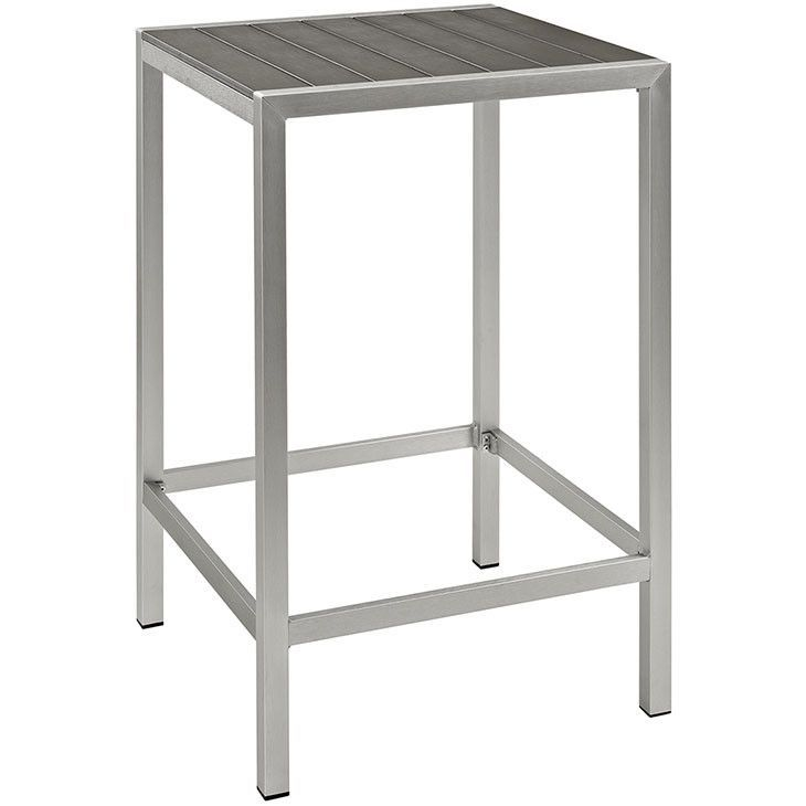 Modway Furniture Modern Shore Outdoor Patio Aluminum Bar Table In Silver  Gray