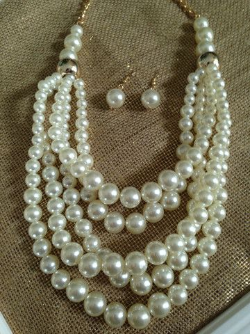 Five Strand Statement Pearl Necklace and Earrings – Ally's Jewelry Addiction $18.00 Free Shipping. Gorgeous Pearls #Chunkypearls #pearljewelry #bridaljewelry