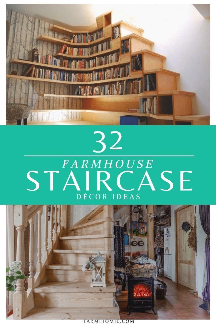 32 Farmhouse Staircase Decor Ideas Staircase decor