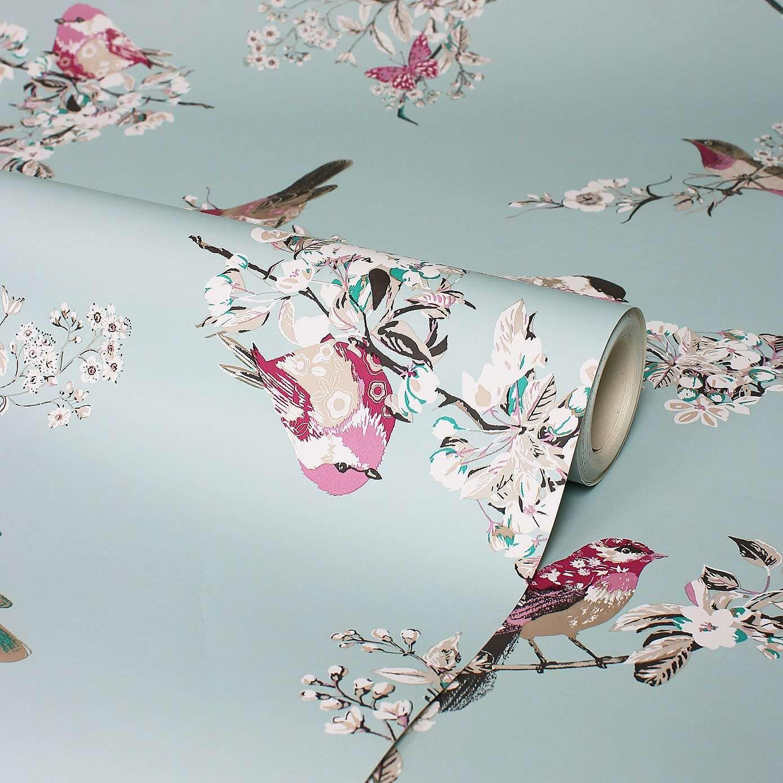 Beautiful Birds DuckEgg Wallpaper Dunelm Beautiful
