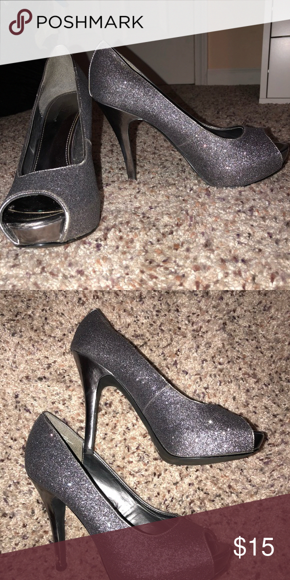 d905ec392311 Silver Heels Dark gray/gunmetal sparkly peep toe heels! Purchased from JCP  and super