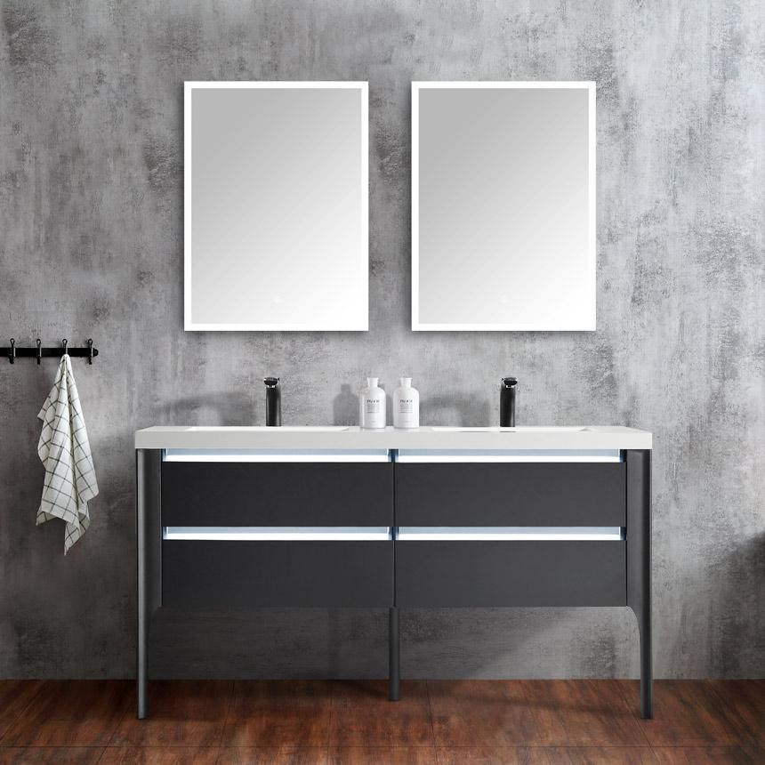 Dowell 60 Inch Double Vanity Color Frosted Black With Led Light 60 Inch Double Vanity Double Vanity Vanity