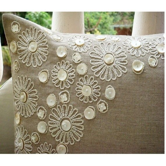 Throw Pillow Covers 20×20 Inches Pillow Cover in Linen with Mother Of Pearl – Elegance