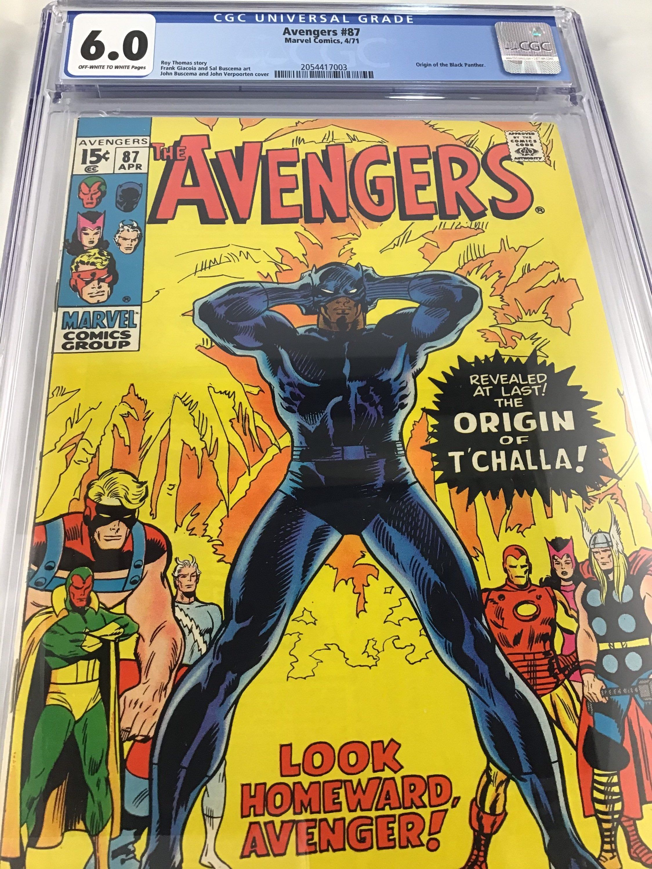 Black Panther Origin Comic Avengers 87 Cgc Graded 6 0 Black Panther Appearance John Buscema Art Roy Thomas Story Avengers Bronze Age In 2021 Marvel Comic Books Marvel Comics Covers Avengers Comics