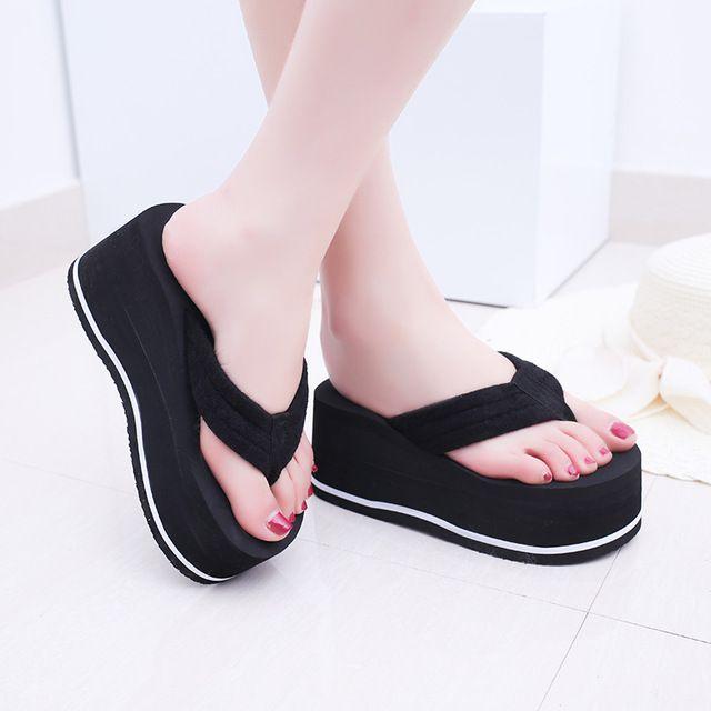 Womens Summer Casual Beach Thong Sandals Wedge Heel Platform Slippers Flip Flop
