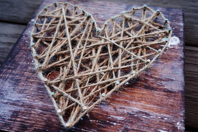 String and Nail hearts by THREE & ME