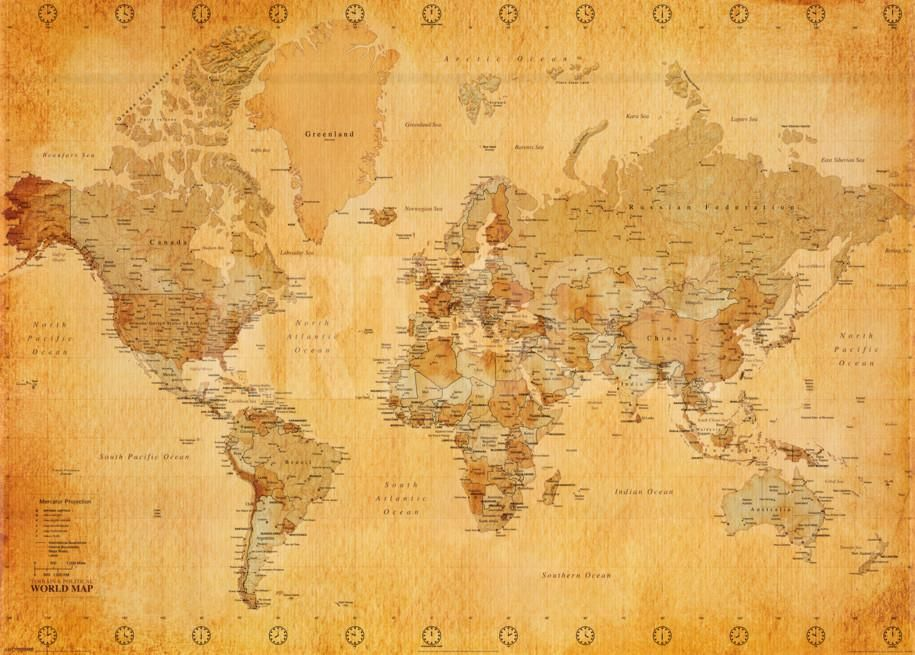 World Map Vintage Style Poster At Art Com World Map Wallpaper Antique World Map Vintage World Map Poster