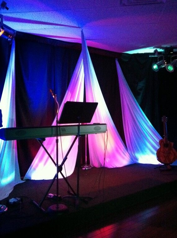 Low Ceiling With Draped Fabric And Lights Body Of Faith