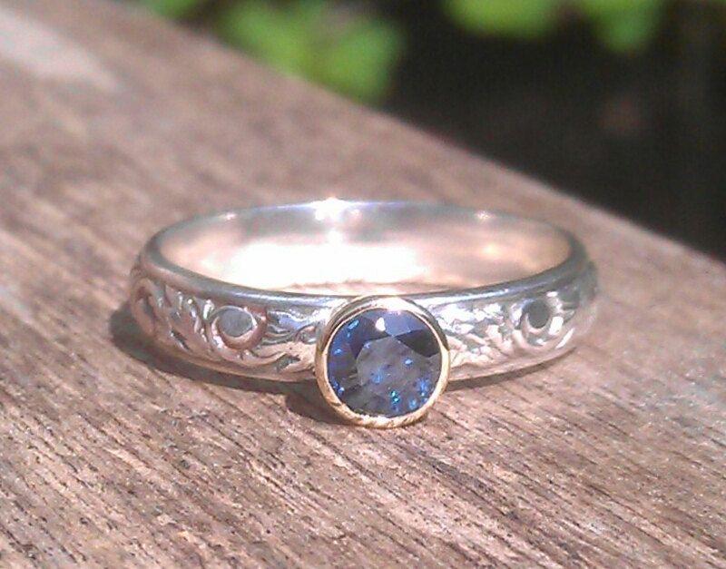 Blueberry 9ct 9k gold bezel set blue sapphire ring by