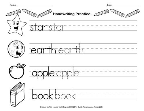 Handwriting Practice Sheet Printable Writing Paper – Handwriting Worksheets for Kids
