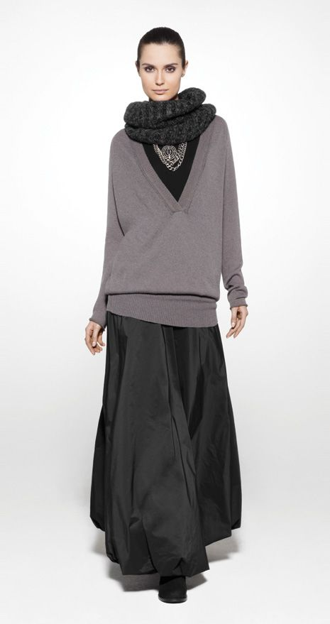 sarah pacini maxi skirt and oversize sweater well. Black Bedroom Furniture Sets. Home Design Ideas