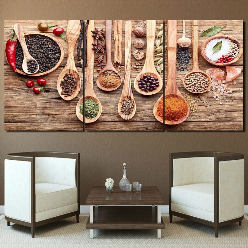 Food Spoon Grains Spices Kitchen Picture Wall Art Canvas Print Paintings For Dining Room Home Decor Custom And Drop Shipping Wall Art Living Room Canvas Kitchen Wall Art Home Wall Decor