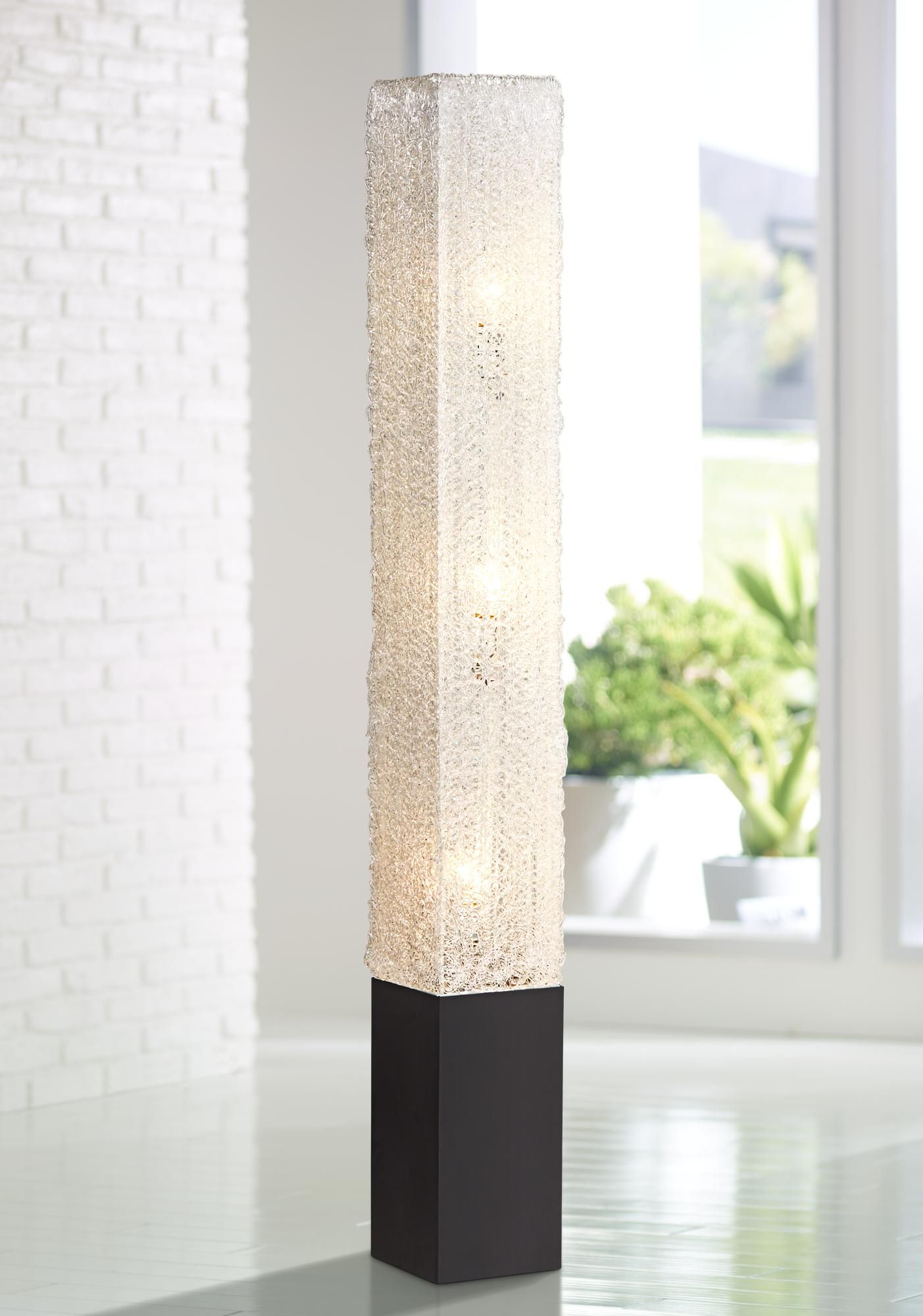 Diax Textured Clear Acrylic Rectangular Floor Lamp 21729