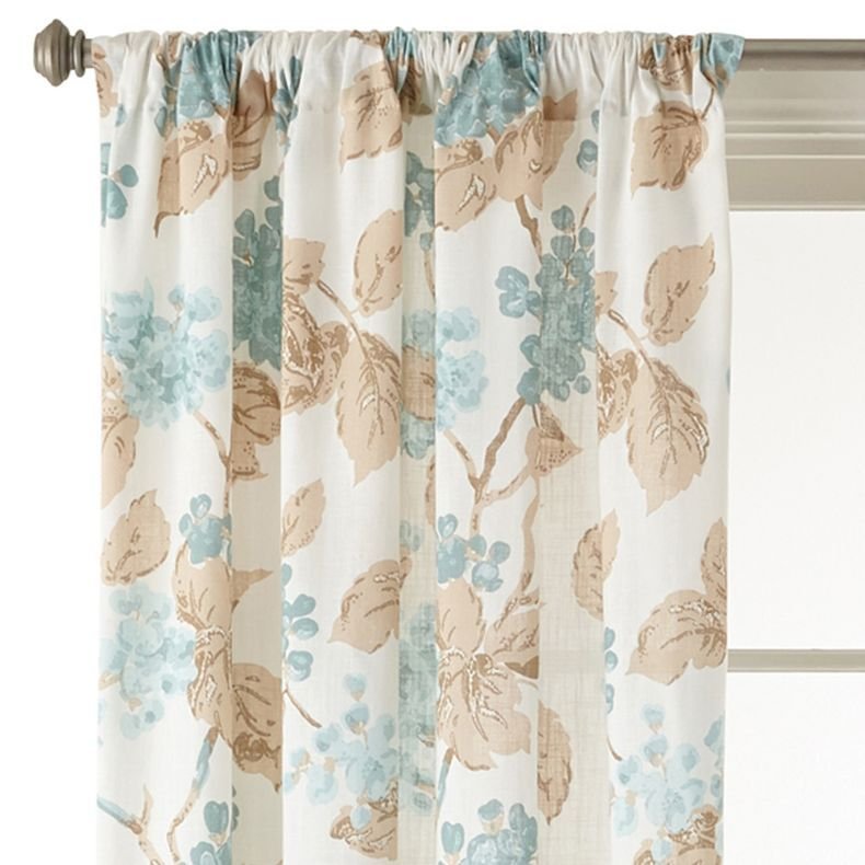 jcpenney - MarthaWindow Hydrangea Rod-Pocket Cotton Curtain Panel - jcpenney