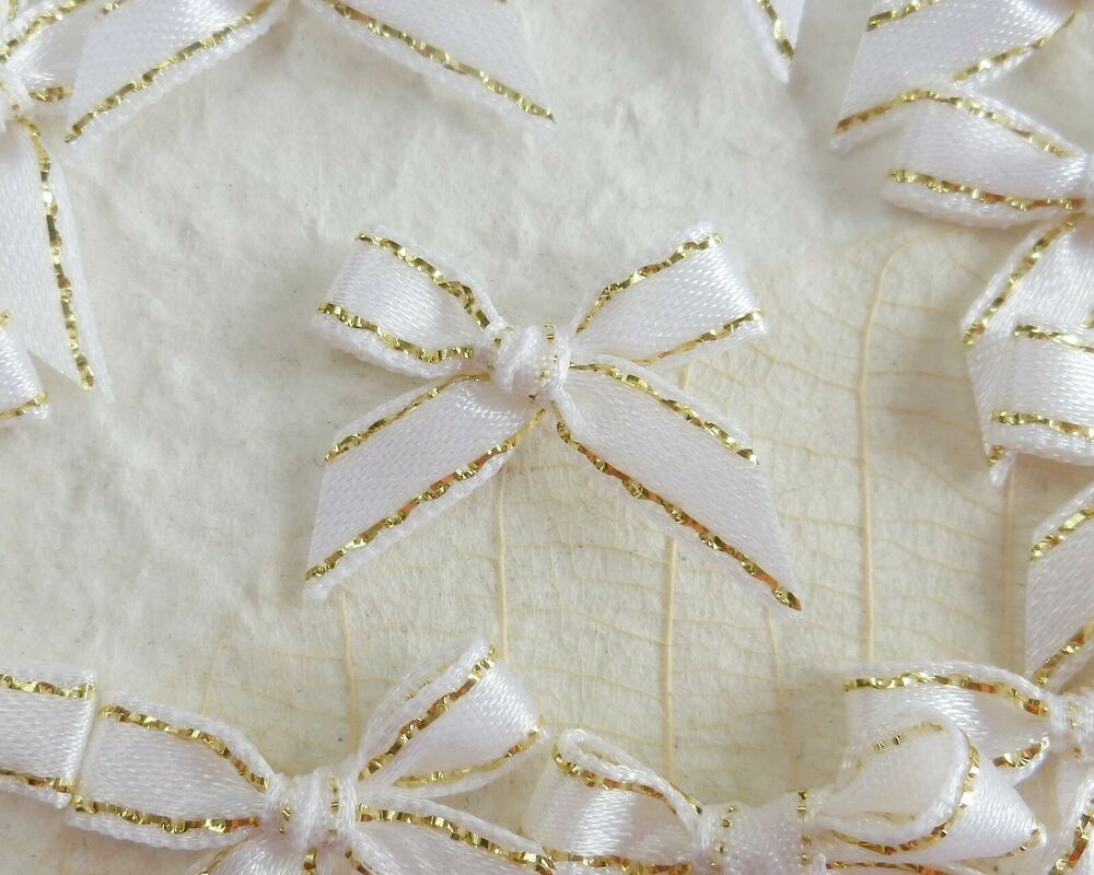 100 Very Cute Satin Bows For Cardmaking 4mm Ribbon Lovely Ivory Bow