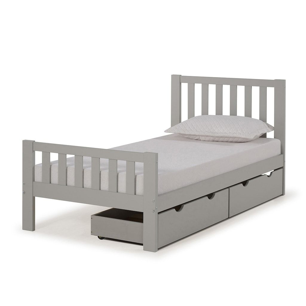 Alaterre Furniture Aurora Twin Bed With Storage Drawers Grey