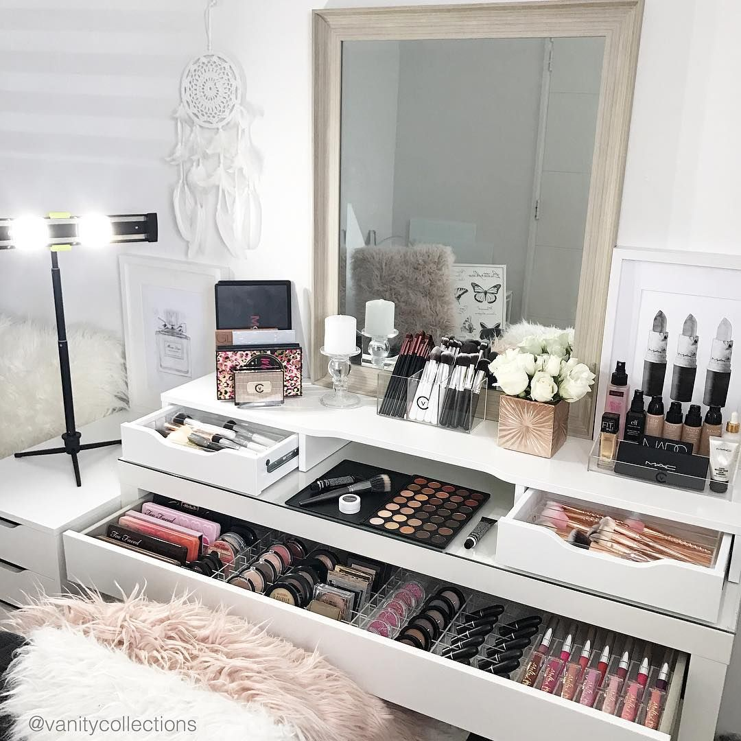 "VANITY COLLECTIONS on Instagram: ""This layout in my IKEA Malm dressing table and Alex add on unit � My new fave. I love it for so many reason. . 1) Maximum utilisation of…"""