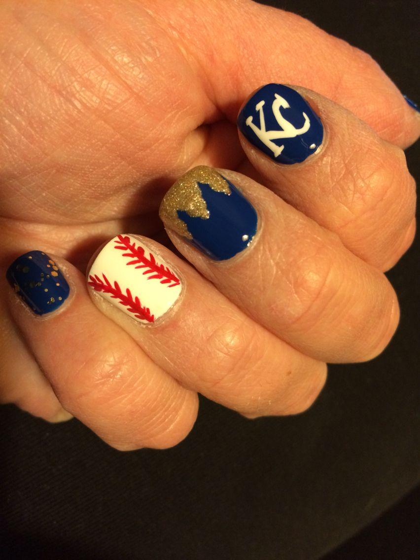 KC Royals Nail Art | nails | Pinterest | Baseball nails, Nails ...