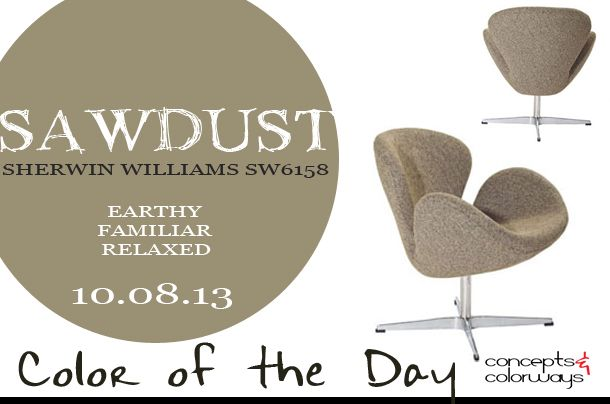 Earthy Paint Colors color of the day {sawdust | green paint colors, room and swan chair