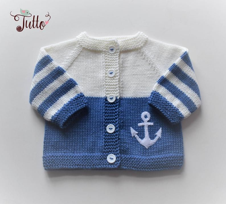 Anchor sweater sailor sweater wool cardigan baby boy sweater blue and white jacket newborn sweater M #babypullover