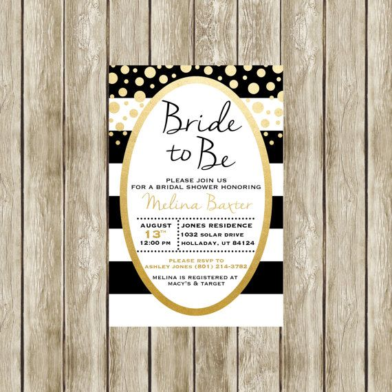 Black and gold bridal shower invitations arts arts printable black white and gold bridal shower invitation faux filmwisefo