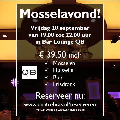 Vrijdag 20 september 2013 Mosselavond in Bar Lounge QB, de zaal achter Restaurant Quatre Bras.
