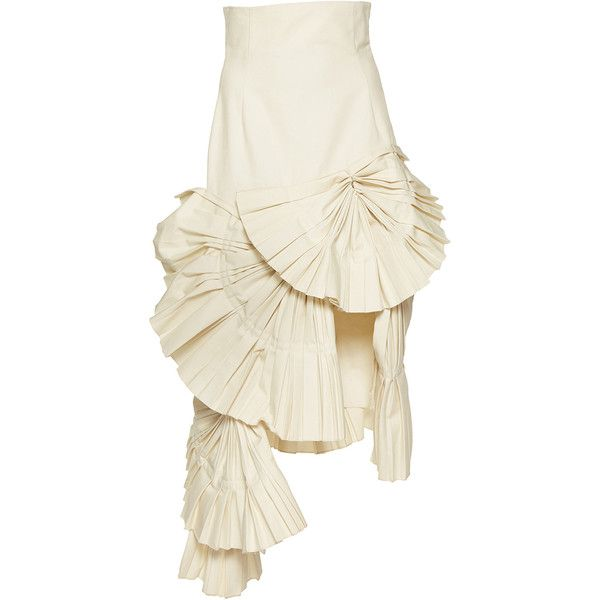 Jacquemus     Pleated Asymmetric Skirt (2,680 SAR) ❤ liked on Polyvore featuring skirts, white, fitted skirts, high-waist skirt, white pleated skirt, white skirt and structured skirt