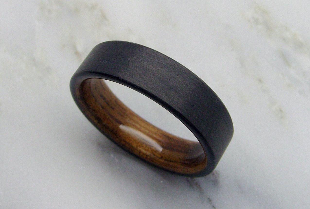 Wooden Wedding Band In Carbon Fiber And Bent Koa Wood Wooden Wedding Bands Wooden Wedding Ring Mens Wedding Rings