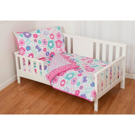 Sumersault Gigi Floral 4 Piece Toddler Bedding Set Pink