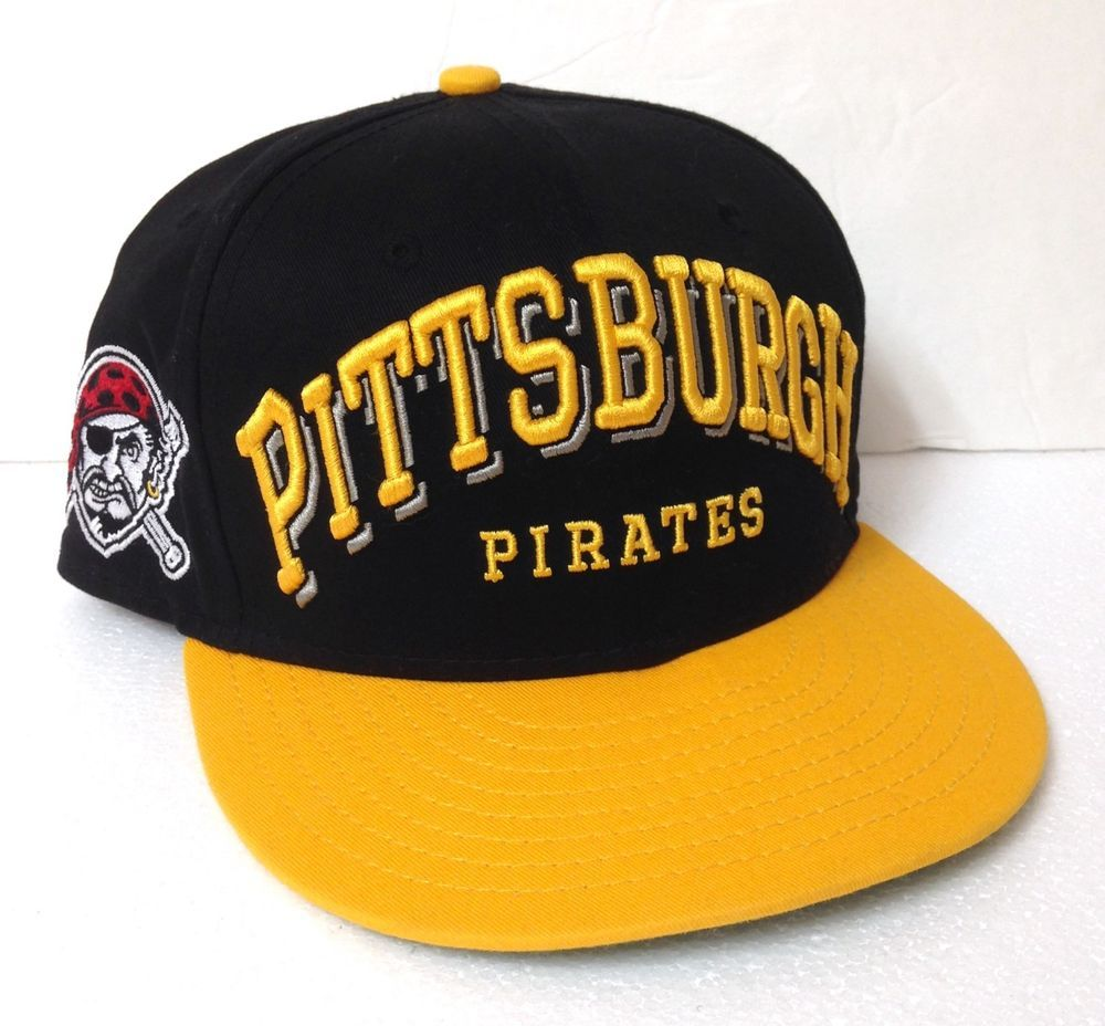 d5f51c6ac038e PITTSBURGH PIRATES SNAPBACK HAT new era 9Fifty black yellow flat bill  men women  NewEra  PittsburghPirates