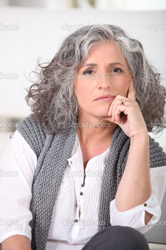 Long Silver Hair Senior woman with long grey hair