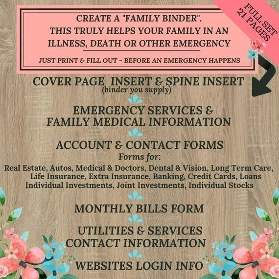 Family Binder ~ Important Documents ~ 21 Forms PLUS cover page ~ Have this information ready in case of any emergency or life event #importantdocuments Family Binder ~ Important Documents ~ 21 Forms PLUS cover page ~ Have this information ready in case #importantdocuments Family Binder ~ Important Documents ~ 21 Forms PLUS cover page ~ Have this information ready in case of any emergency or life event #importantdocuments Family Binder ~ Important Documents ~ 21 Forms PLUS cover page ~ Have this #importantdocuments