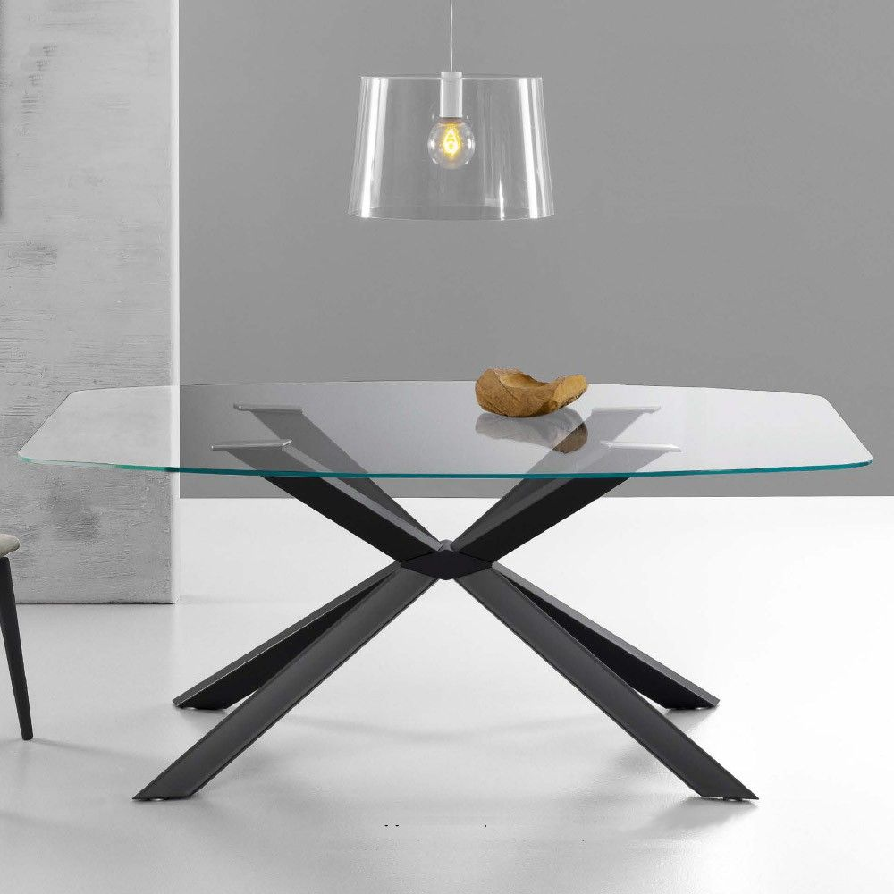 Eurosedia tavolo mikado 200x110 cm in vetro a botte for Tavoli design online