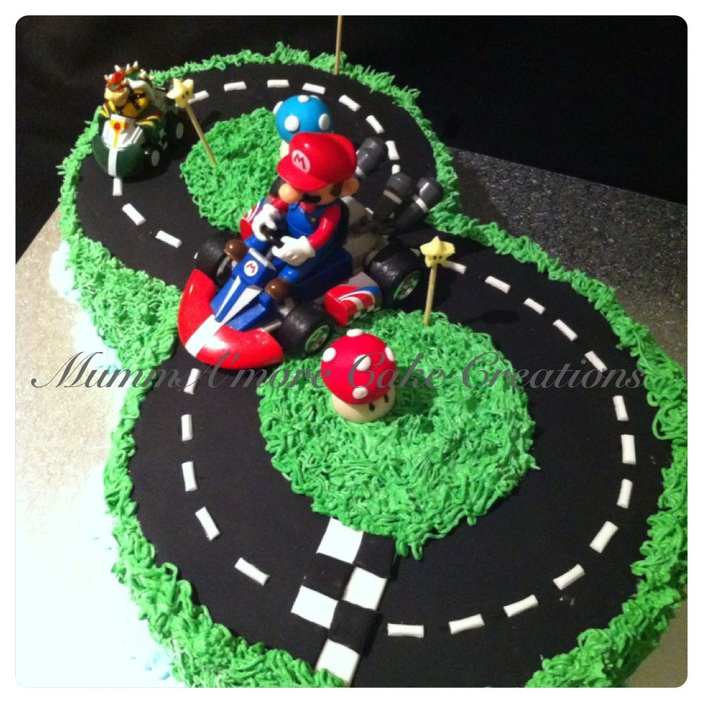 Mario Cart No 8 Racing Track 8th Birthday Cake Mario Birthday Cake Mario Bros Cake
