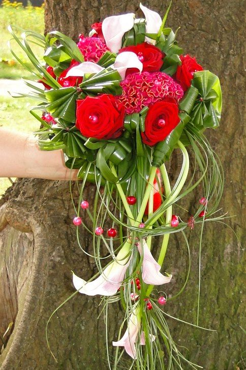 Beautiful Wedding Bouquet with Porta Nova Red Naomi Roses - by Anne ...