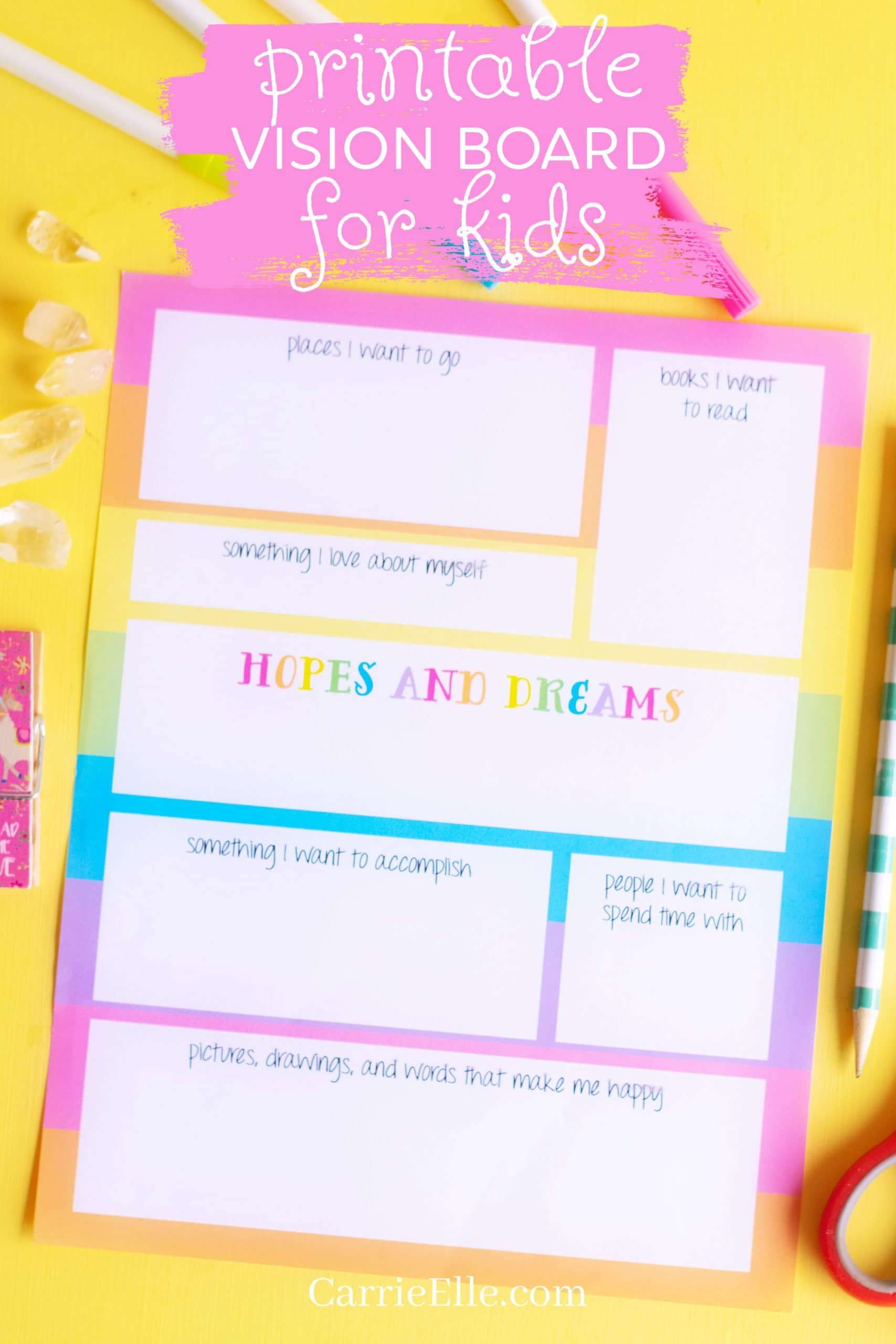 Printable Vision Board Template For Kids Visionboards