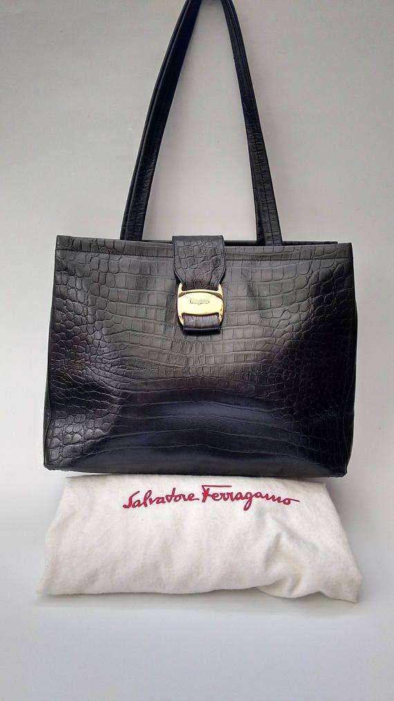 SALVATORE FERRAGAMO Vintage Black Textured Crocodile Embossed ... d1443c5dfd80d