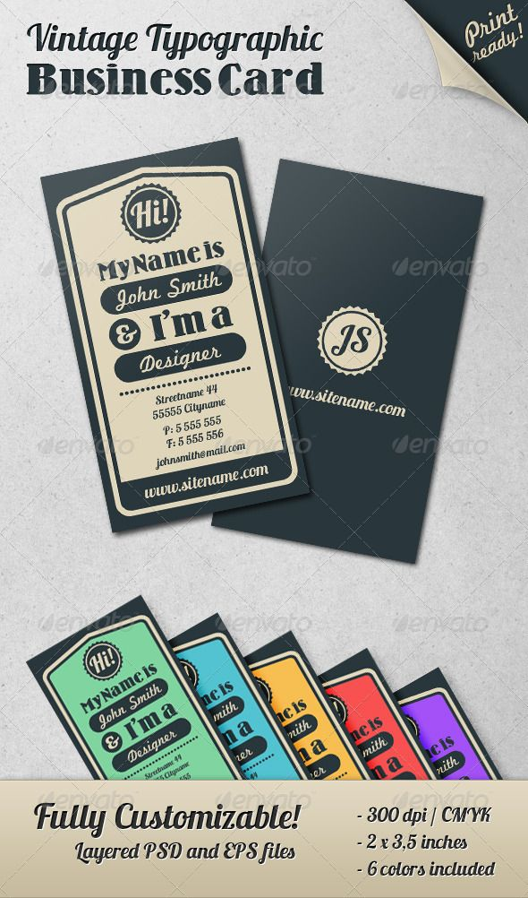 Vintage Typographic Business Card | Business cards, Business and ...