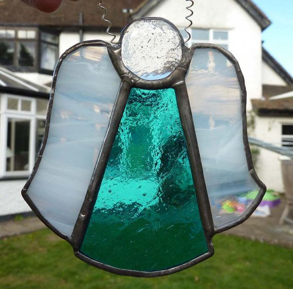 Stained Glass Christmas Angel with turquoise by SugarLipsGlass