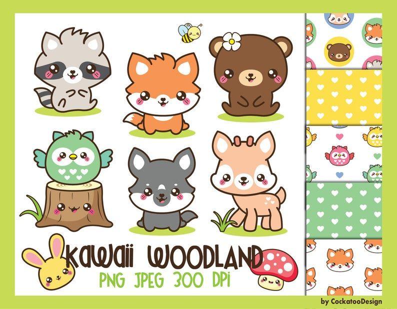 Woodland Clipart Spring Clipart Woodland Animals Clipart Etsy In 2021 Cute Animal Clipart Kawaii Clipart Kawaii Animals