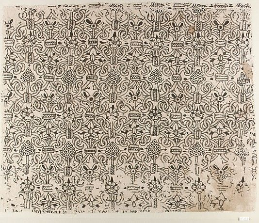 "Panel of blackwork, British, 1580-1620 linen worked with silk thread, buttonhole, cross, outline and herringbone stitches 17.25""x21"""