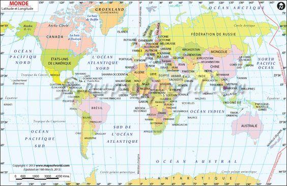 carte du monde avec latitude et longitude Carte du monde avec Latitude et Longitude: | Carte du monde, Carte