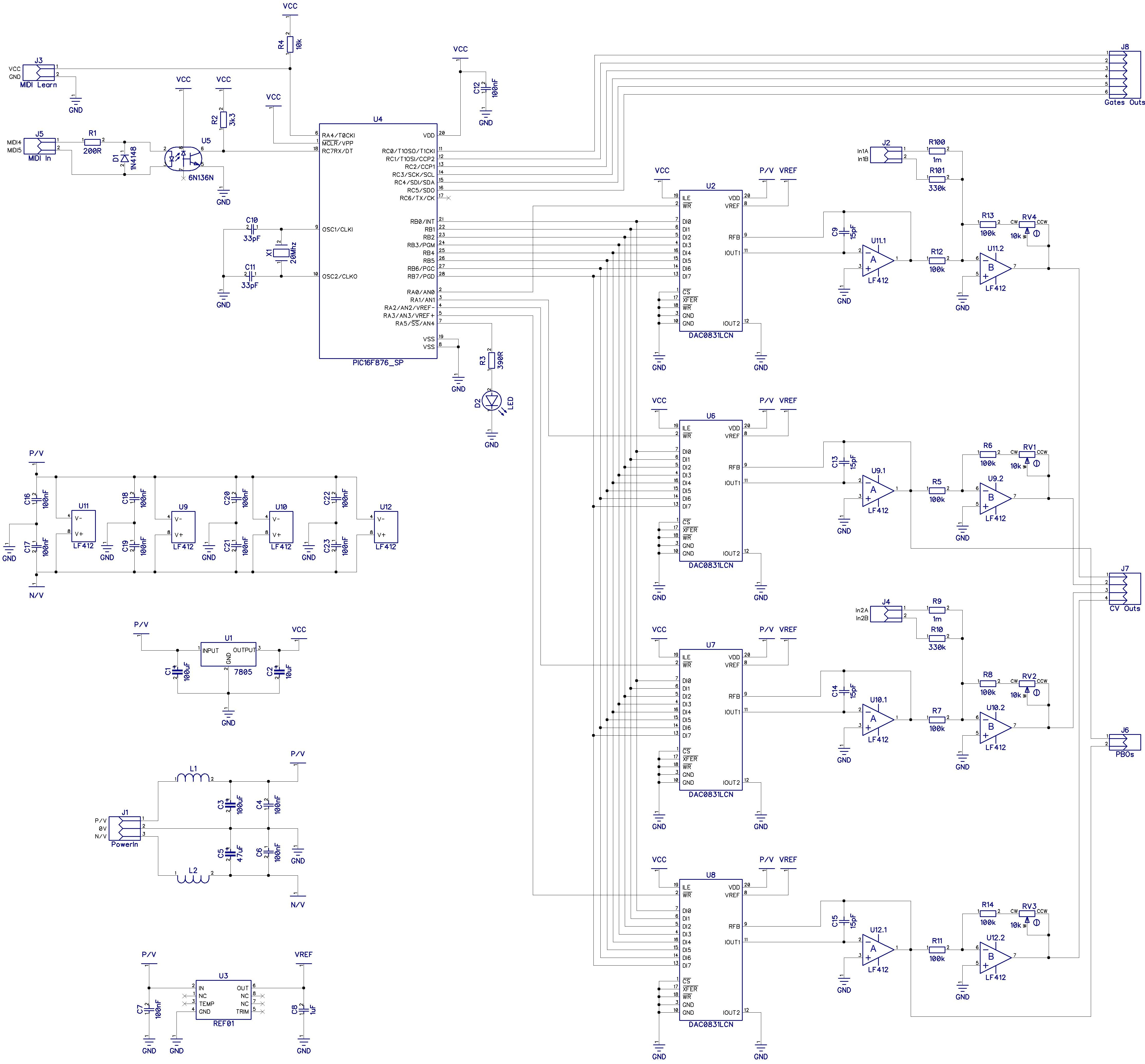 Midi To Cv Gate Interface Mcv 876 Schematics