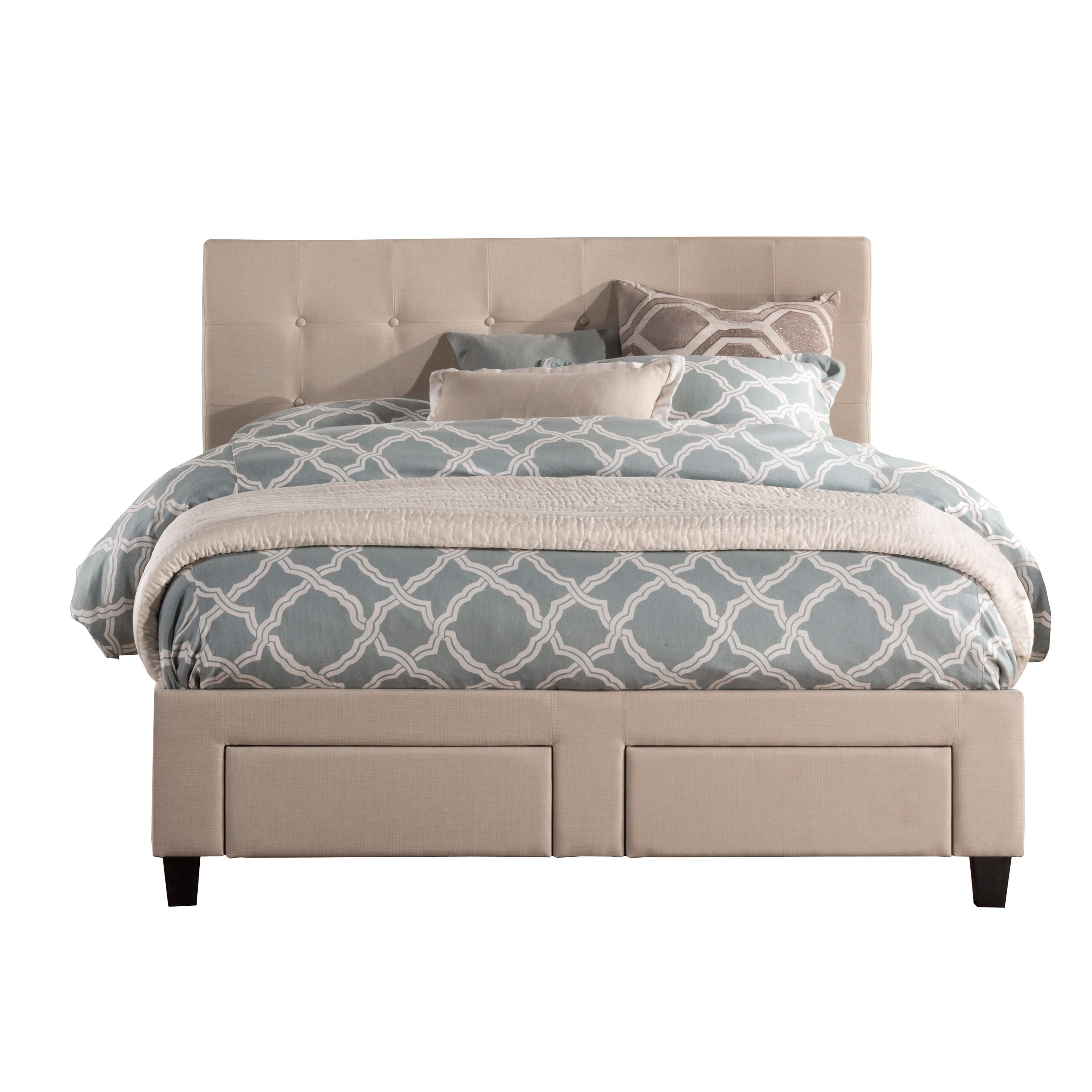Duggan Beige Upholstered Tufted Front Storage Queen / King Bed frame ...