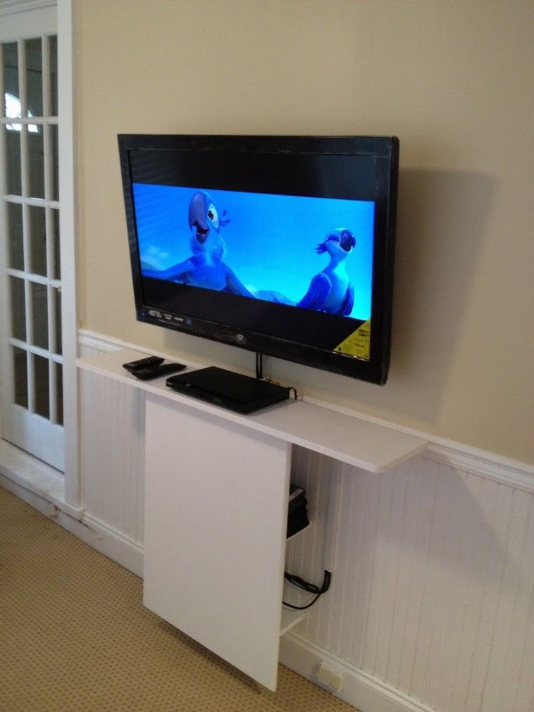 Furniture Hidden Storage With White Door Under Wall Mounted Tv In