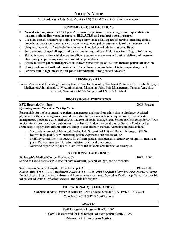 rn resume building nurse resume objective sample jk template - sample pacu nurse resume