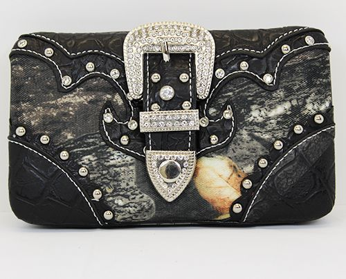 Rhinestone Wallet - $20. Also available with pink or brown leather!